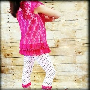 Little Lass Other - 🚨NWT Girls 6 2 Pc Capri Dress Outfit Pink Lace