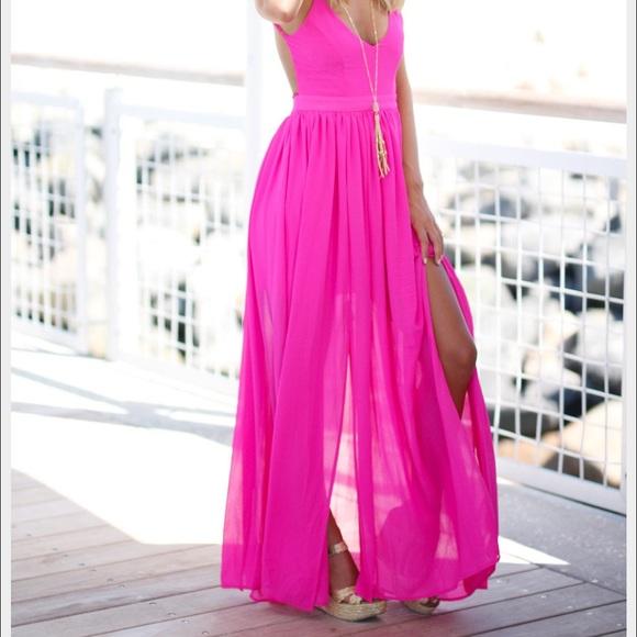 d34ed0602b2 Beautiful Bright Pink Backless Maxi Dress