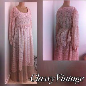 Vintage Dresses & Skirts - Stunning pink lace vintage maxi dress