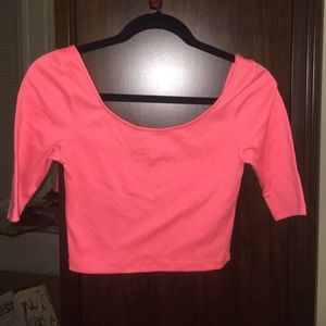 Bright Salmon Colored Crop Top Sz S