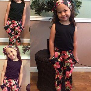 Other - 💕NEW💕 3 piece Floral Pants set, headband & tank