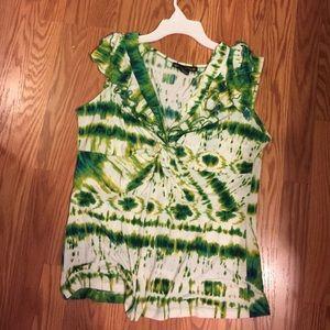 Green and white print sleeveless top XL