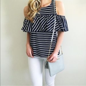 Cupcakes & Cashmere Tops - Cupcakes & Cashmere Striped Cold Shoulder Top