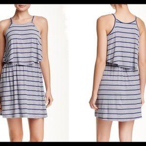 Striped dress Knit dress 2 in 1piece dress in blue