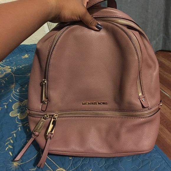 8ba48ce0d17c ... top quality michael kors small dusty rose rhea backpack 71fc0 599b3