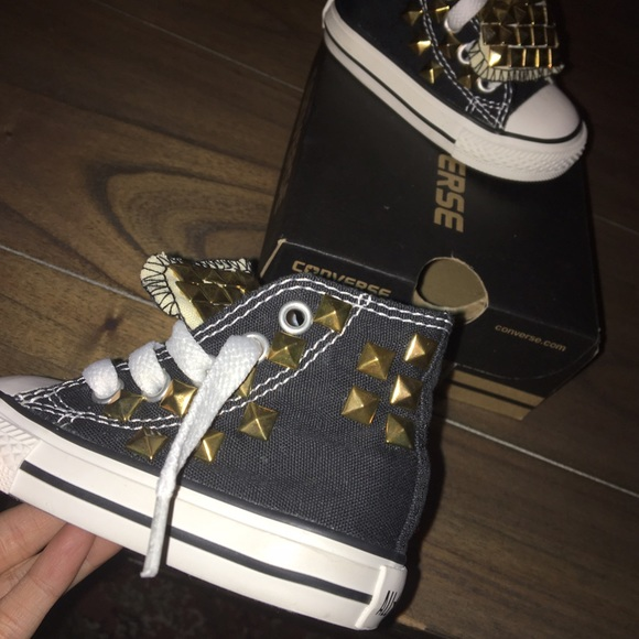 e3bd5af2334574 Converse Other - Customized Gold Studded Black Converse