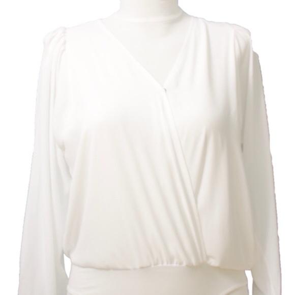 50daa03545e Plus Size Wrap Front Blouse Bodysuit