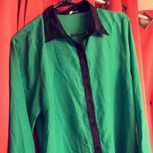 Vintage green and black blouse