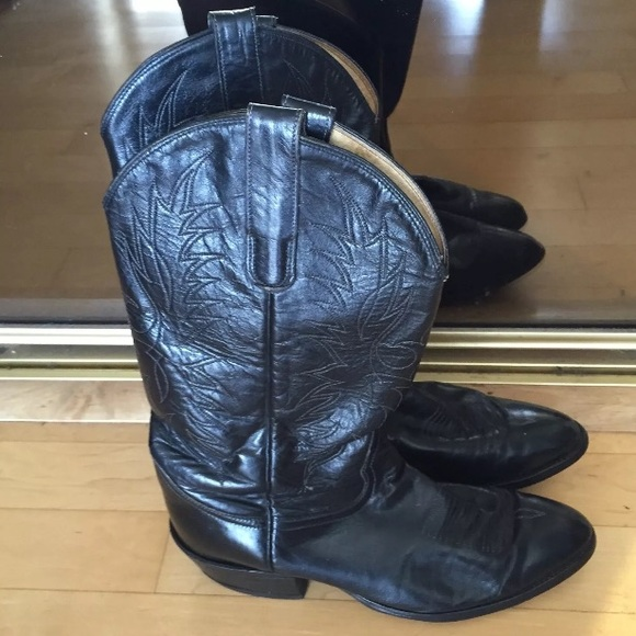 69e82db2e67 Tony Lama black leather cowboy boots Style 2951
