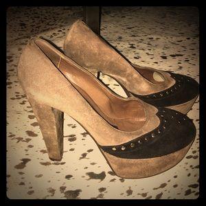 Marni suede/studded block heels