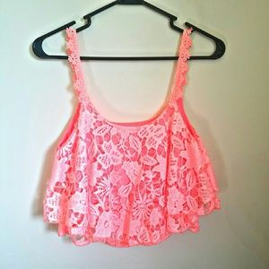 Charlotte Russe Lace Crochet Ruffled Crop Top