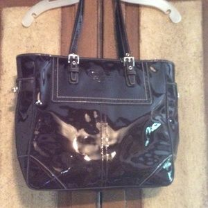 Coach brown patent leather tote