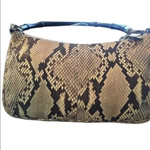 Authentic Phyton bamboo shoulder bag