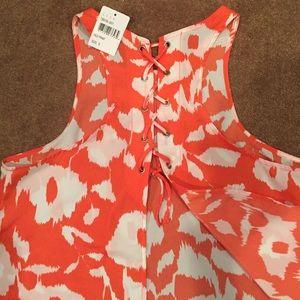 Open back orange/red floral tank top