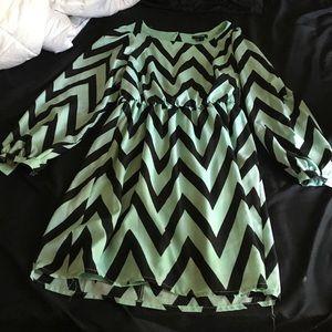 Size s mint green and black chevron dress