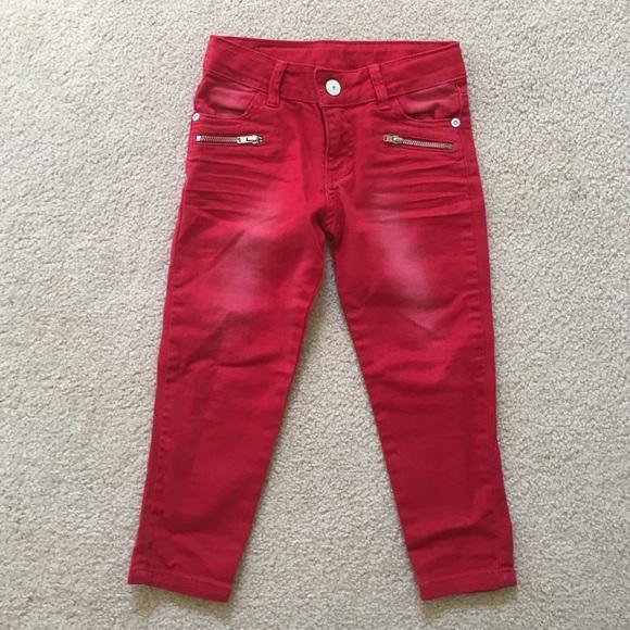 79% off Zara Denim - Zara Kids size 3/4. Red skinny Distressed ...