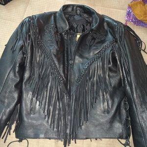 VINTAGE Leather black biker jacket