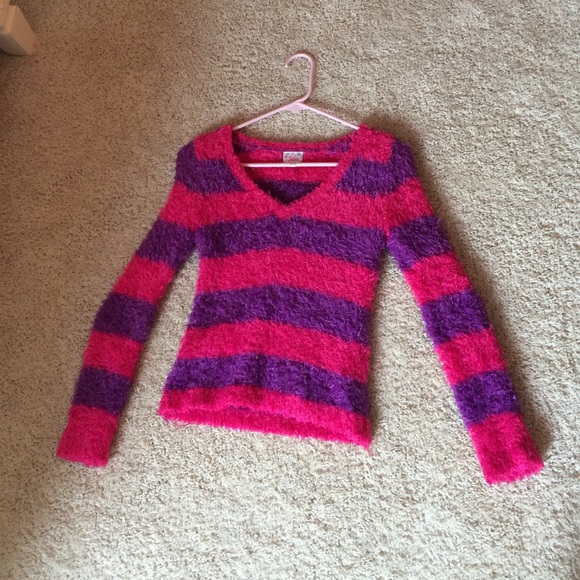 20% off Justice Other - Striped Pink and Purple Fuzzy Sweater from ...
