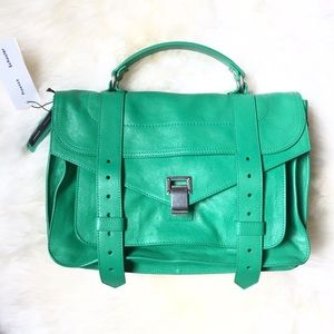 PROENZA SCHOULER PS1 Medium Green Leather Satchel
