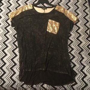 oversized sequins pocket tee