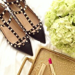Valentino Shoes - SALE!! VALENTINO Rockstud Flats Black Gold Leather