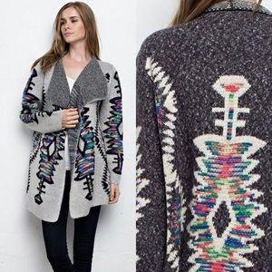 Sweaters - Geometric Print Cardigan- GRAY