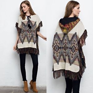 Sweaters - Sweater Poncho Top- IVORY