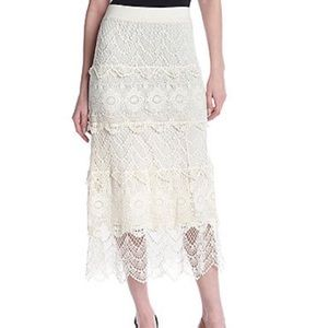 Ivory Long Crochet Skirt