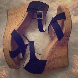 Toms Black Cork Strappy Wedge Sandal