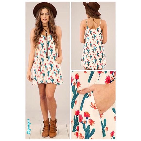 4637121aad4a Desert Flower Cactus Print Swing Dress