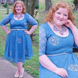 Blue Embroidered Flower Fit-and-Flare Dress