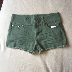 65% off Charlotte Russe Pants - Olive green high waisted shorts ...