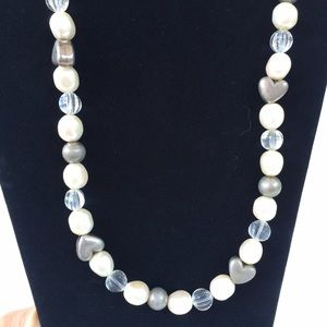 Vintage Pearl & silver heart  Necklace