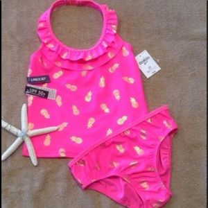 UPF Protection Bright Pink Pineapple Tankini Set.