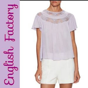 English Factory Tops - English Factory • Lavender• lace detail blouse