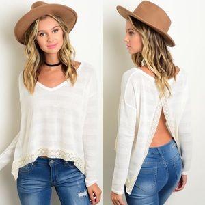 Ivory Long Sleeve Slit Open Back Sweater
