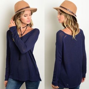 Boutique Sweaters - Navy Blue Long Sleeve Lightweight Sweater