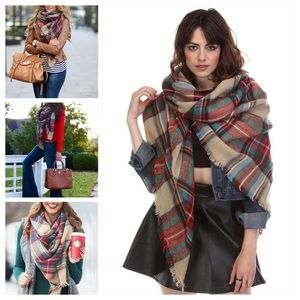 ❤️HOST PICK❤️ Red Oversized Plaid Tartan Scarf
