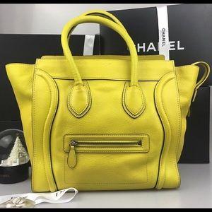 celine lemon yellow mini luggage