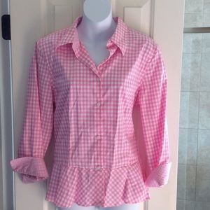 Gingham check button front blouse in 100% cotton