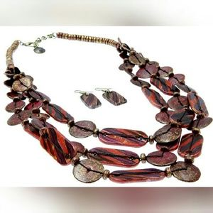 Red Wooden Bead Shell Jewelry Set