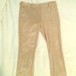 Tan and metallic suede pants