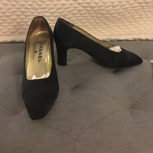 Authentic Chanel silk heels