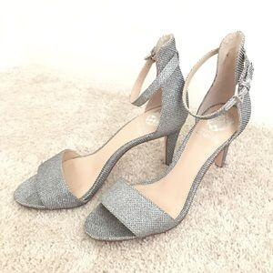 Vince Camuto Shoes - Vince Camuto Silver Sparkly Mesh Ankle Strap Heels