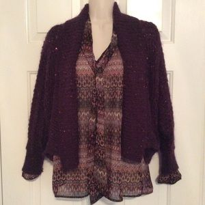 Express Sweaters - Express deep purple mohair sequined open cardigan