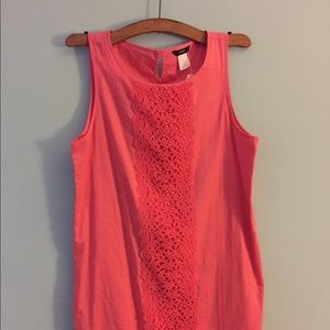 J crew coral shift dress with embroidered detail
