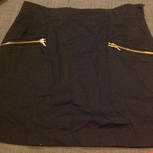 Black H&M High Waisted Skirt with Gold Zippers