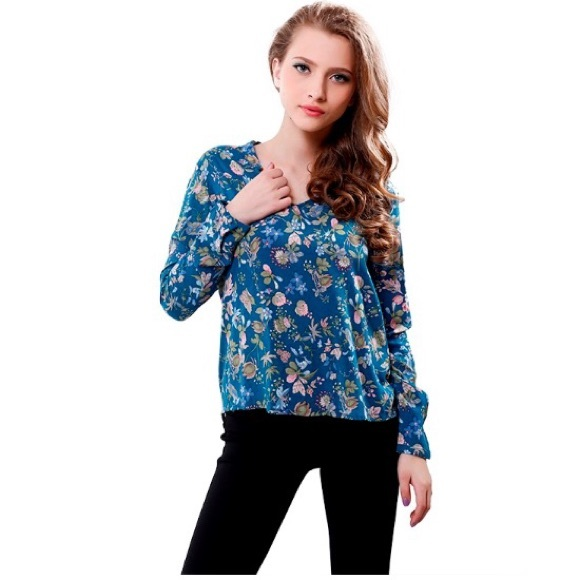 b707d7db2fe7ba Split Neck Blouse High Low Hem Floral Printed. Boutique. Ushoptwo
