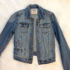 Zara Denim Jean Jacket Distressed S