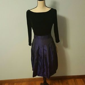 Evan Picone Dresses & Skirts - Evan Picone Black Velvet & Blue/Purple Dress